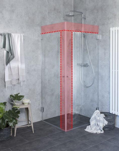 M1W, Sondermaß Eck-Dusche mit 2 Türen, Klarglas, Chrom