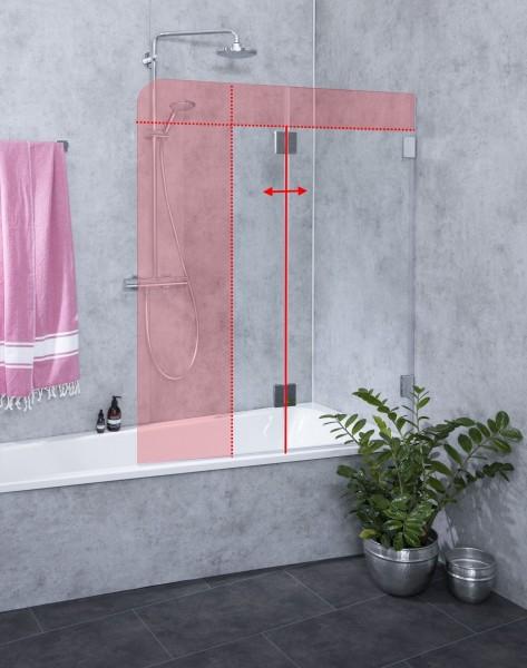 M2B, Badewannenaufsatz nach Maß, Faltwand Badewanne, 2 Flügel, Klarglas, Chrom