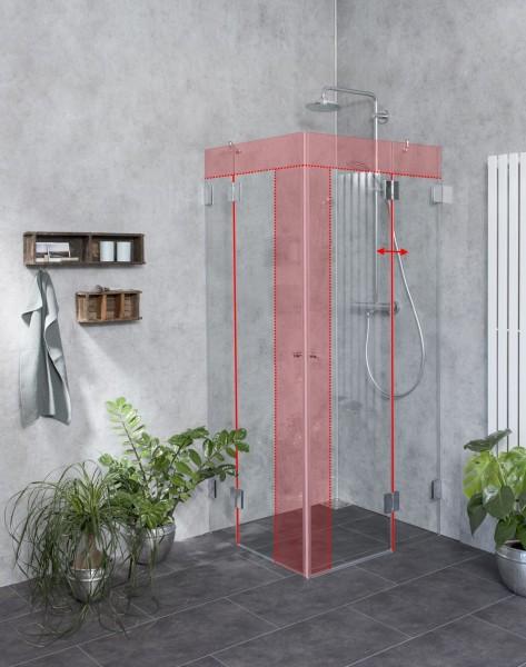 M2E, Eckeinstieg Duschkabine Sondermaß mit 2 Türen, Klarglas, Chrom