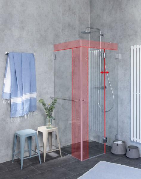 M2S, Eck-Dusche mit Seitenwand Sonderanfertigung, Klarglas, Chrom