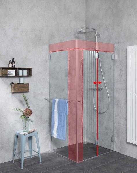 MF1S, Faltbare Dusche Sondermaß mit Seitenwand, Klarglas, Chrom