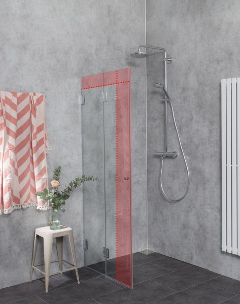MFO, Falt-Duschwand, wegfaltbar, im Sondermaß, Glas klar, verchromt