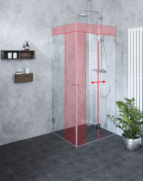 MFaS, Faltwand Dusche Sondermaß mit Außentüre, Klarglas, Chrom