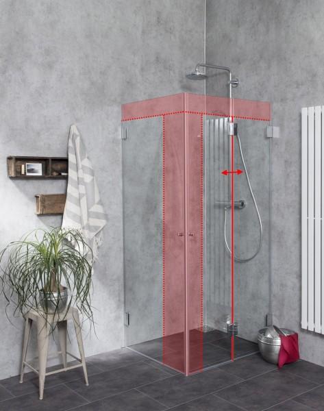 MFiS, Eck Falt-Dusche Sondermaß mit Innentüre, Klarglas, Chrom