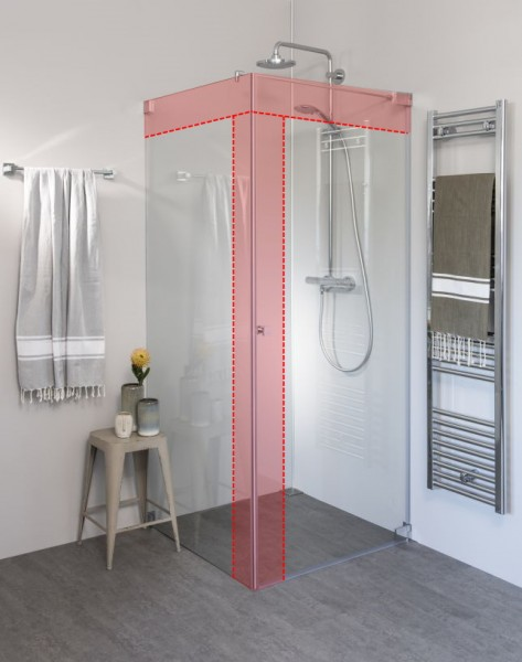 Eck Duschkabine mit Pendeltüre an Wand und Seitenwand nach Maß