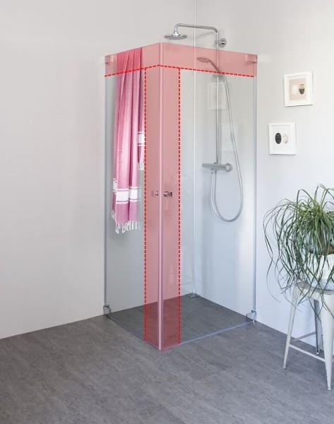 Eck Duschkabine mit 2 Pendeltüren an Wand auf Maß