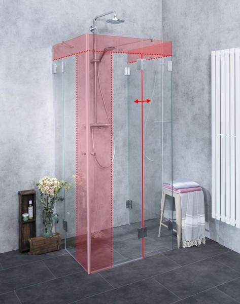 MU2E, U-Form Dusche nach Maß Eckeinstieg, Klarglas, Chrom