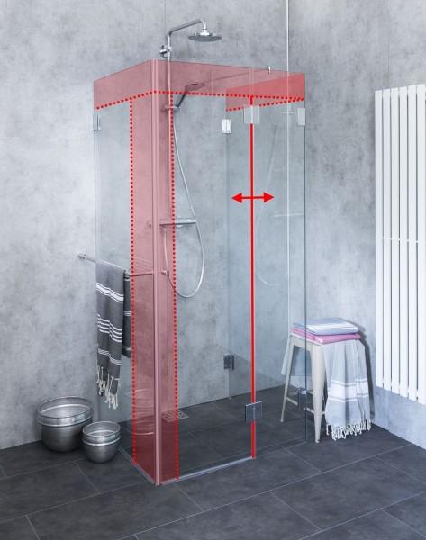 MU2S, 3-Seiten U-Dusche Sondermaß, Klarglas, Chrom