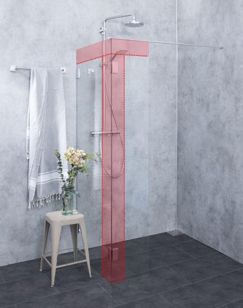 MWO, Duschwand in Sondermaßen als Walk-in, Klarglas, Chrom