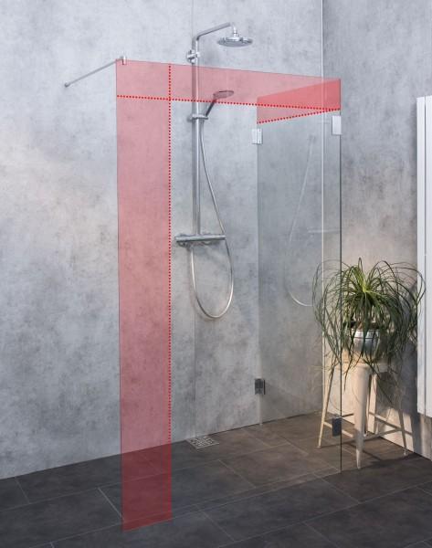 MXW, Walk-in Glaswand Dusche Sondermaß, Klarglas, Chrom