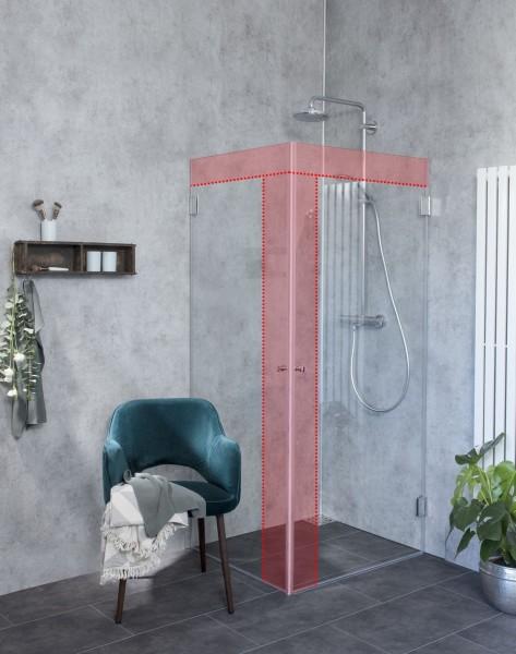 MiW, Sondermaß Eck-Duschkabine mit Innentüre, Klarglas, Chrom