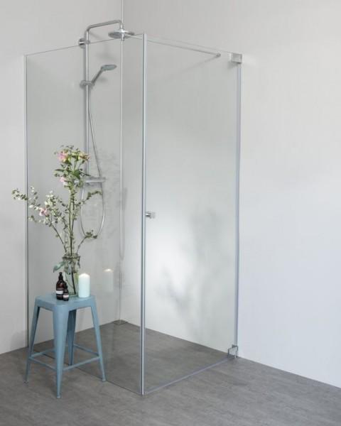 Eck Duschkabine mit Pendeltür an Wand + Festwand 120cm