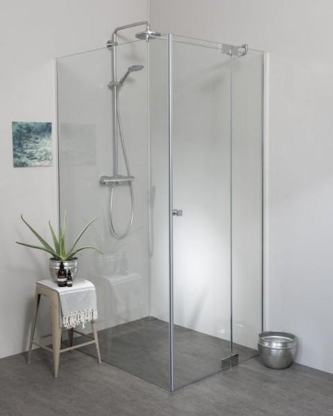 Eck Duschkabine mit Pendeltüre und Festwand groß