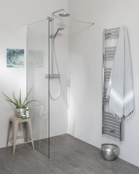 Glaswand Dusche: Duschtrennwand mit Wandanschlussprofil, Sondermaße