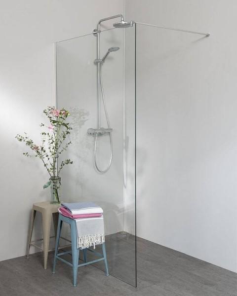 Begehbare Dusche: Duschwand mit Klemm Wandanschlussprofil