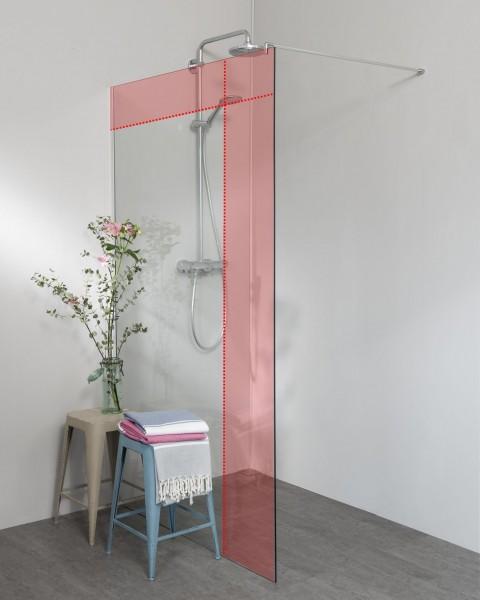 PMPO230, Duschwand Sonderanfertigung mit Wandprofil chromfarben für Ausgleich schiefe Wand, Glas 8 mm