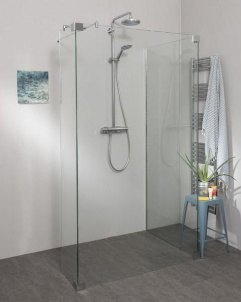 Begehbare Dusche: Walk In Duschwand mit Glaswand & Festteil, Wandprofil