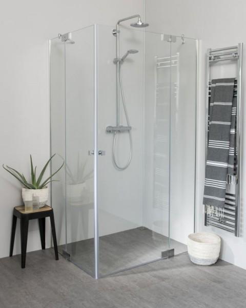 Teilgerahmte Eck Duschkabine mit Pendeltür groß und Seitenwand, Sondermaße