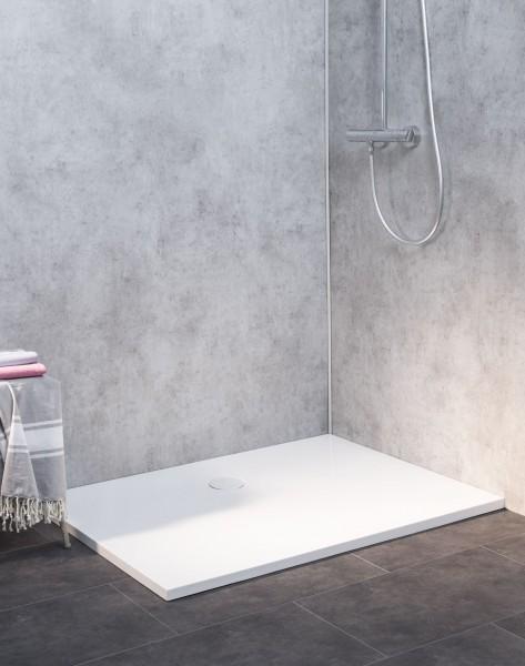 Dusch-Bodenelement aus Mineralguss, bodengleich, weiß, 120x90cm, inkl. weißem Ablauf