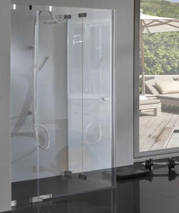 TA2E, Rahmenlose Eckeinstieg Dusche mit 2 Pendeltüren über Eck, 8mm Glas, chrom