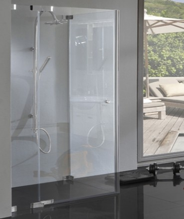 TBXS, Eck Dusche bodenebene Maße mit Pendeltür und Seitenwand, 8mm Glas, rahmenlos, chrom