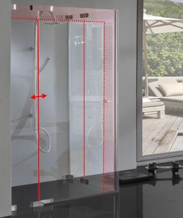 TM2E, Duschkabine Glas, Sondermaß Eckeinstieg mit 2 Pendel Schwingtüren, 8mm Glas rahmenlos, chrom