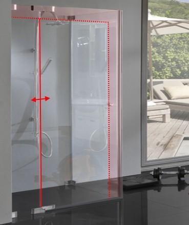 TM2S, Eck Dusche Sondermaß mit Pendel Drehtür und Seitenwand, 8mm Glas rahmenlos, chrom