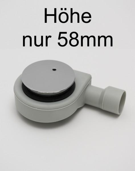 WFS90-CR, Siphon Ablaufgarnitur, superflach, chromfarben, für Duschwannen-Ablauf D=90mm