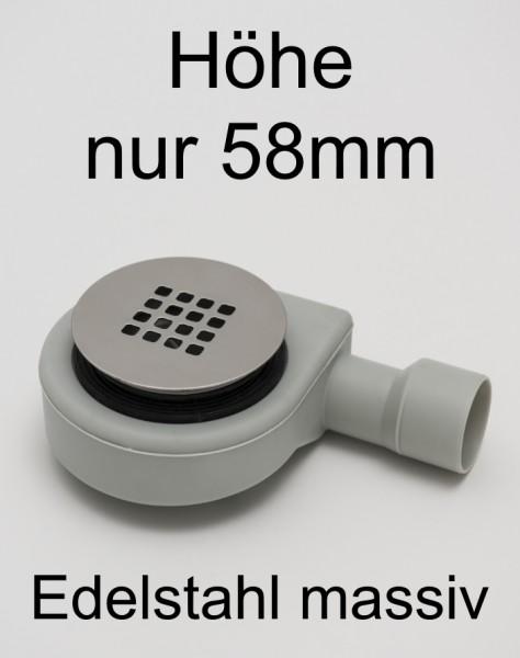 WFS90-GS-Com, Duschablauf flach, massives Edelstahl-Gitter matt gebürstet, für Duschwannenablauf D=90mm