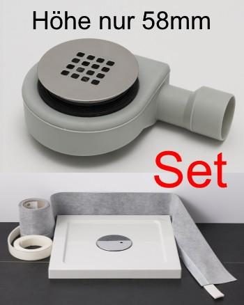 Duschablauf flach Edelstahlgitter massiv matt gebürstet Spar-Set mit Dichtband und Schallschutzband