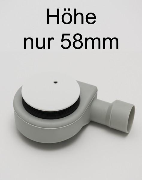 WFS90-W, Siphon Ablaufgarnitur, superflach, weiss, für Duschwannen-Ablauf D=90mm