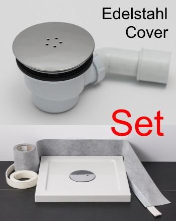 Ablaufgarnitur Dusche Edelstahl-Cover chrom Spar-Set mit Dichtband, Schallschutzband für Duschwanne
