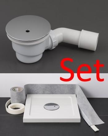 WSL90-WABS4M-CR, Duschwannen Abfluss-Garnitur, chrom, im Set mit Dichtband und Schallschutzband