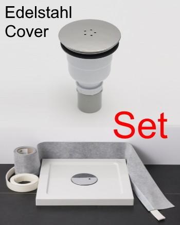 Duschwannenablauf vertikal Edelstahl-Cover chrom im Spar-Set mit Dichtband und Schallschutzband