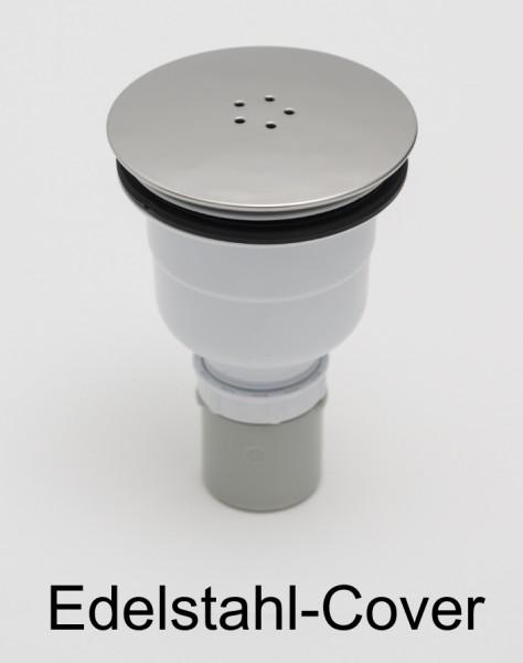 WVS90-CR, Duschwannenablauf vertikal, Edelstahl-Cover chrom, für senkrechten Wannenablauf D=90mm